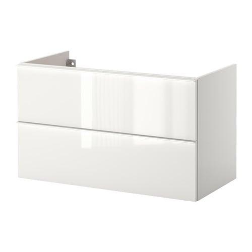 Godmorgon armario lavabo 2 cajones alto brillo blanco - Lavabo en catalan ...