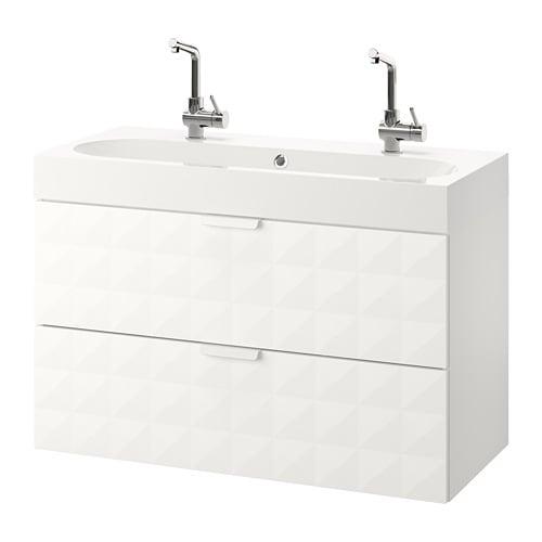 Godmorgon br viken armario lavabo 2 cajones resj n blanco ikea - Armario lavabo ikea ...