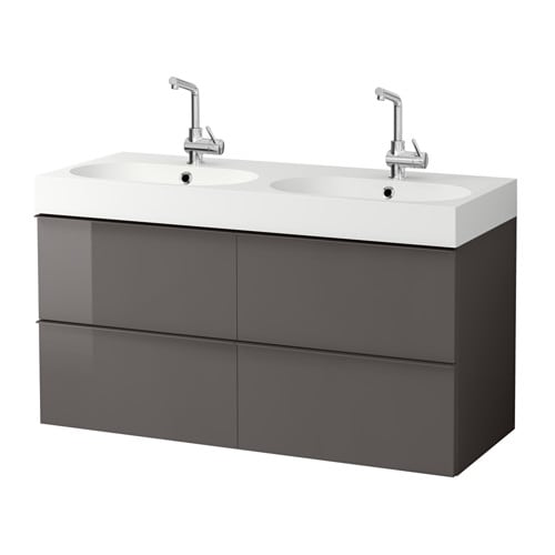 Godmorgon br viken armario lavabo 4cajones alto brillo gris ikea - Armario lavabo ikea ...
