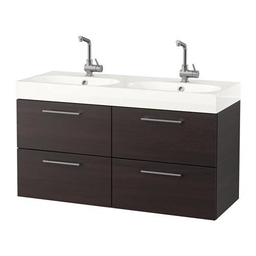 Godmorgon br viken armario lavabo 4cajones negro marr n ikea - Armario lavabo ikea ...