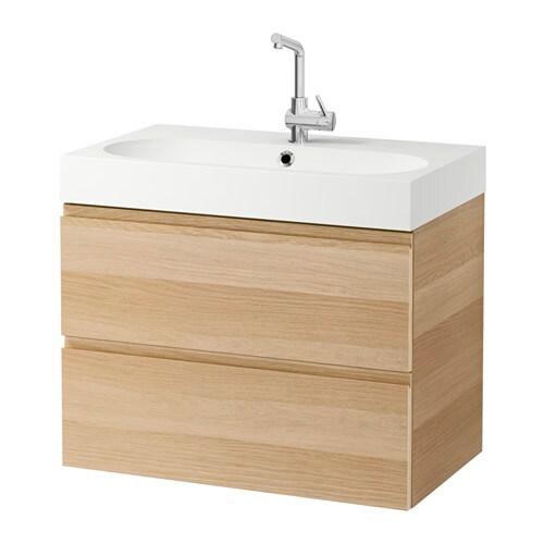 Godmorgon br viken armario lavabo 2 cajones efecto roble tinte blanco ikea - Armario lavabo ikea ...