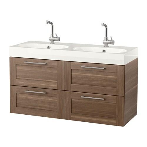 Godmorgon br viken armario lavabo 4cajones efecto nogal ikea - Armario lavabo ikea ...