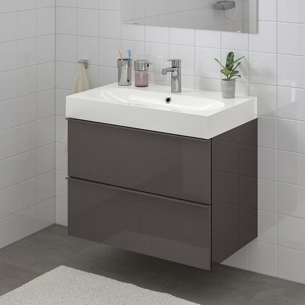 GODMORGON / BRÅVIKEN armario lavabo 2 cajones alto brillo gris/grifo Brogrund 80 cm 80 cm 48 cm 68 cm