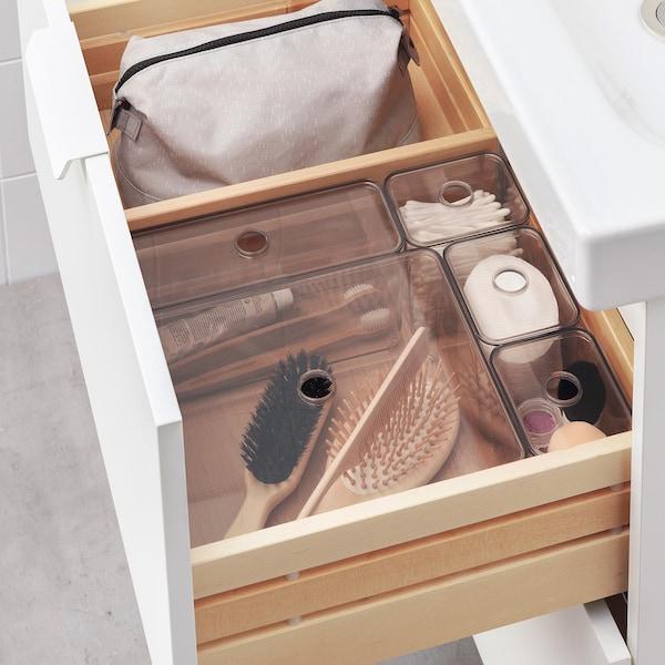 GODMORGON Caja con tapa, juego de 5, ahumado, 24x20x10 cm