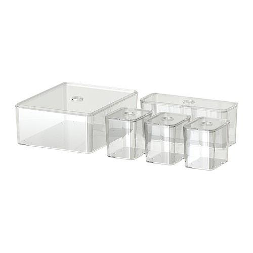 GODMORGON Caja con tapa, juego de 5, transparente