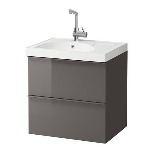 Godmorgon edeboviken armario lavabo 2 cajones alto brillo gris ikea - Armario lavabo ikea ...