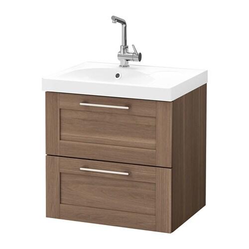 Godmorgon edeboviken armario lavabo 2 cajones efecto nogal ikea - Armario lavabo ikea ...