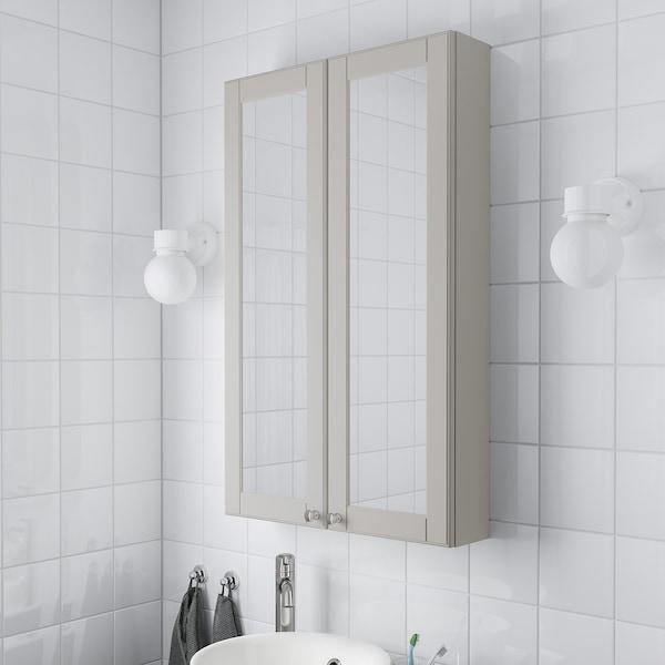 GODMORGON armario &espejo, 2 puertas Kasjön gris claro 60 cm 14 cm 96 cm