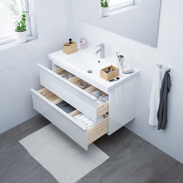 GODMORGON / ODENSVIK Armario lavabo 2 cajones, alto brillo blanco/Dalskär grifo, 103x49x64 cm