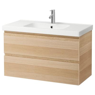 GODMORGON / ODENSVIK Armario lavabo 2 cajones, efecto roble tinte blanco/Dalskär grifo, 103x49x64 cm