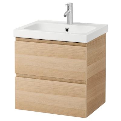 GODMORGON / ODENSVIK Armario lavabo 2 cajones, efecto roble tinte blanco/Dalskär grifo, 63x49x64 cm