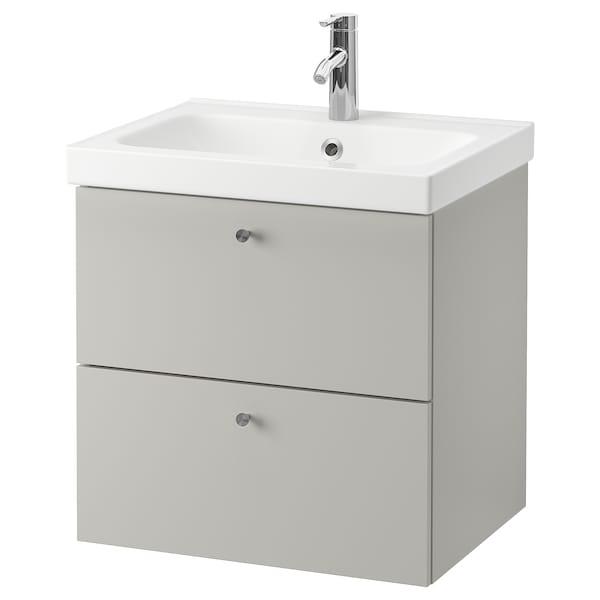 GODMORGON / ODENSVIK Armario lavabo 2 cajones, Gillburen gris claro/Dalskär grifo, 63x49x64 cm