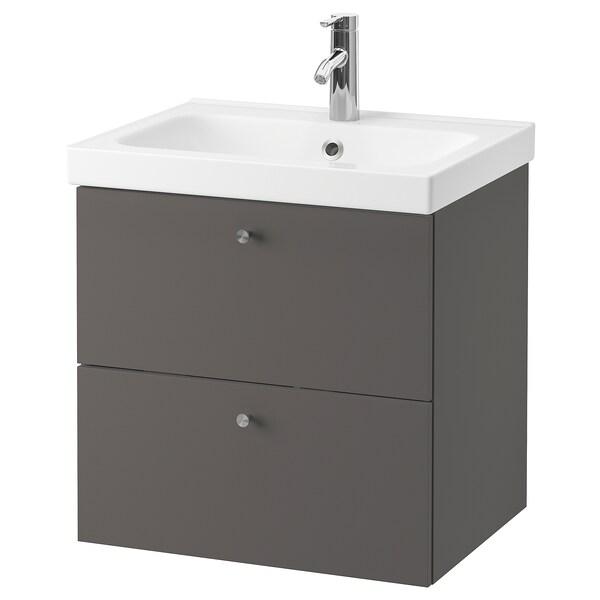 GODMORGON / ODENSVIK Armario lavabo 2 cajones, Gillburen gris oscuro/Dalskär grifo, 63x49x64 cm