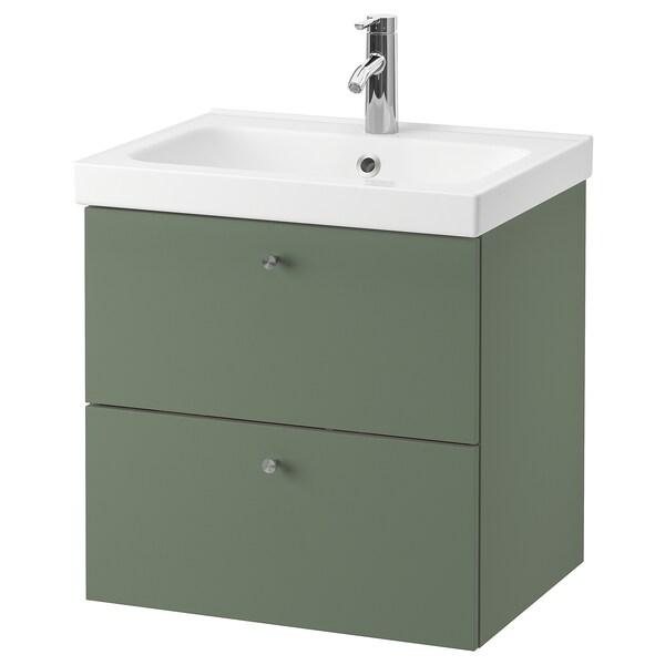 GODMORGON / ODENSVIK Armario lavabo 2 cajones, Gillburen verde grisáceo/Dalskär grifo, 63x49x64 cm
