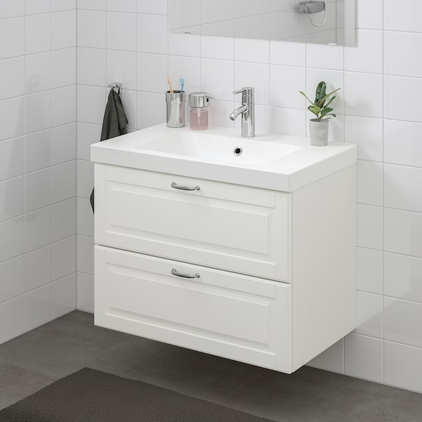 GODMORGON / ODENSVIK Armario lavabo 2 cajones, Kasjön blanco/Hamnskär grifo, 83x49x64 cm