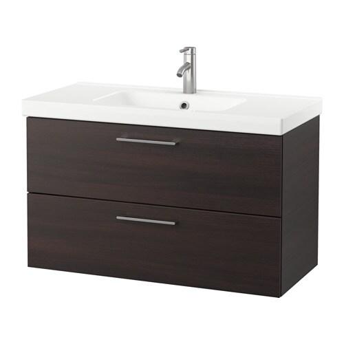 Godmorgon odensvik armario lavabo 2 cajones negro marr n ikea - Armario lavabo ikea ...