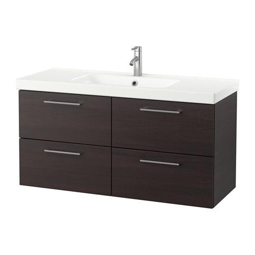 Godmorgon odensvik armario lavabo 4cajones negro marr n ikea - Armario lavabo ikea ...