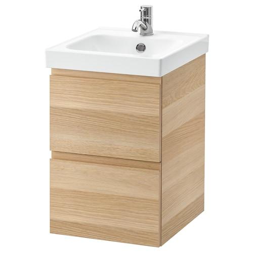 GODMORGON / ODENSVIK armario lavabo 2 cajones efecto roble tinte blanco/Pilkån grifo 43 cm 40 cm 49 cm 64 cm
