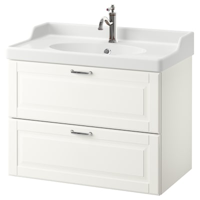 GODMORGON / RÄTTVIKEN Armario lavabo 2 cajones, Kasjön blanco/Hamnskär grifo, 82x49x68 cm