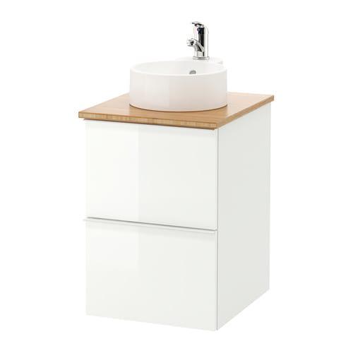 Adesivo Moveis Mdf ~ GODMORGON TOLKEN GUTVIKEN Armario lavabo 29 +encimera bambú, alto brillo blanco IKEA