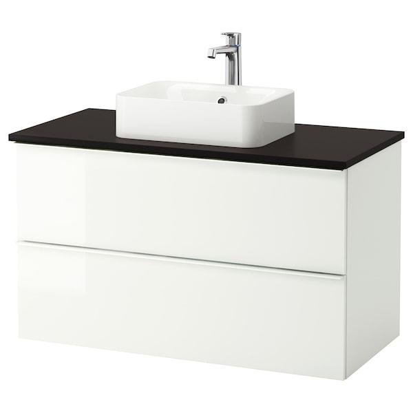 GODMORGON/TOLKEN / HÖRVIK armario/lavabo +encimera alto brillo blanco/antracita grifo Brogrund 102 cm 100 cm 49 cm 72 cm