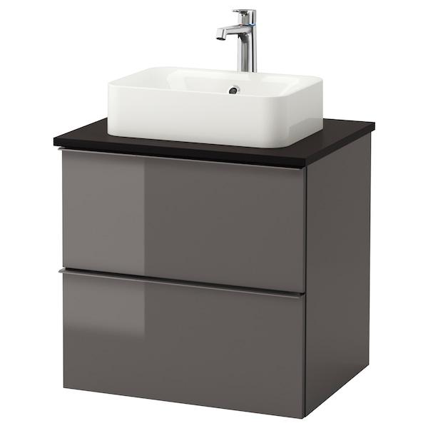 GODMORGON/TOLKEN / HÖRVIK armario/lavabo +encimera alto brillo gris/antracita grifo Brogrund 62 cm 60 cm 49 cm 72 cm