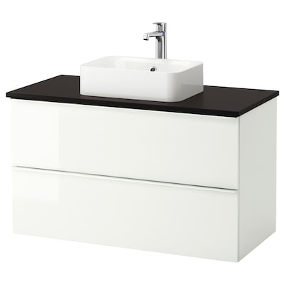 GODMORGON/TOLKEN / HÖRVIK Armario/lavabo +encimera, alto brillo blanco/antracita grifo Brogrund, 102x49x72 cm