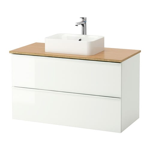 Godmorgon tolken h rvik armario lavabo encimera bamb alto brillo blanco ikea - Godmorgon ikea mobile alto ...