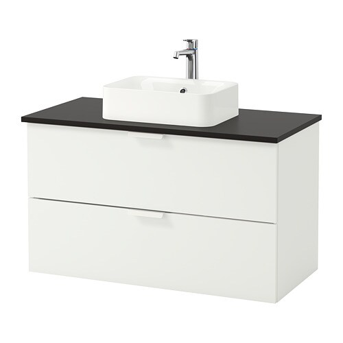 GODMORGON TOLKEN HÖRVIK Armario lavabo +encimera antracita, blanco IKEA