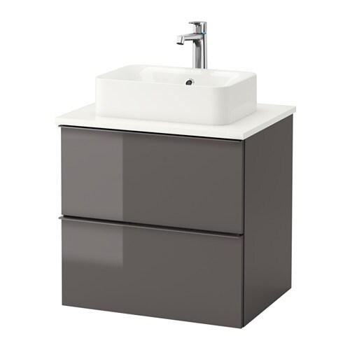 Godmorgon tolken h rvik armario lavabo encimera blanco alto brillo gris ikea - Armario lavabo ikea ...