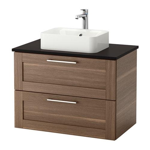 Adesivo Moveis Mdf ~ GODMORGON TOLKEN HÖRVIK Armario lavabo +encimera antracita, efecto nogal IKEA