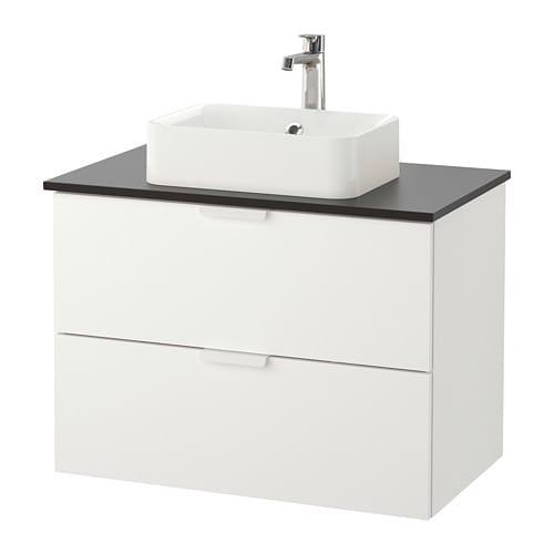 Godmorgon tolken h rvik armario lavabo encimera antracita blanco ikea - Armario lavabo ikea ...