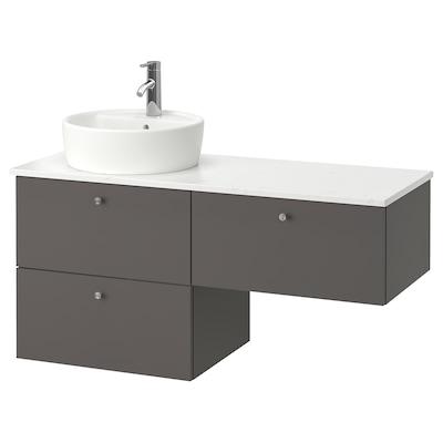 GODMORGON/TOLKEN / TÖRNVIKEN Armario/lavabo 3 cajones, Gillburen gris oscuro/efecto mármol Dalskär grifo, 122x49x74 cm