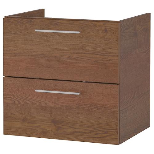 GODMORGON armario lavabo 2 cajones efecto fresno tinte marrón 60 cm 47 cm 58 cm