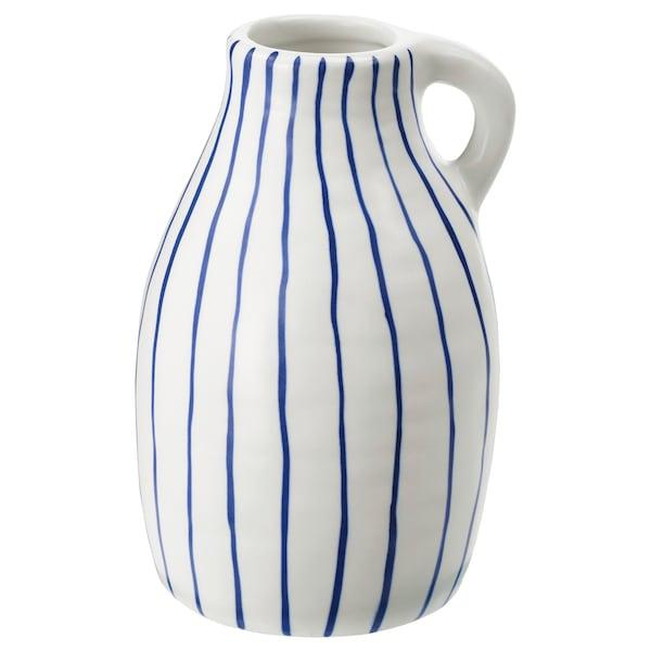 GODTAGBAR Florero / jarrón, cerámica blanco/azul, 14 cm