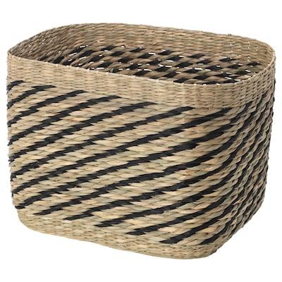 GOTTERN Cesta, junco marino/negro, 32x23x23 cm