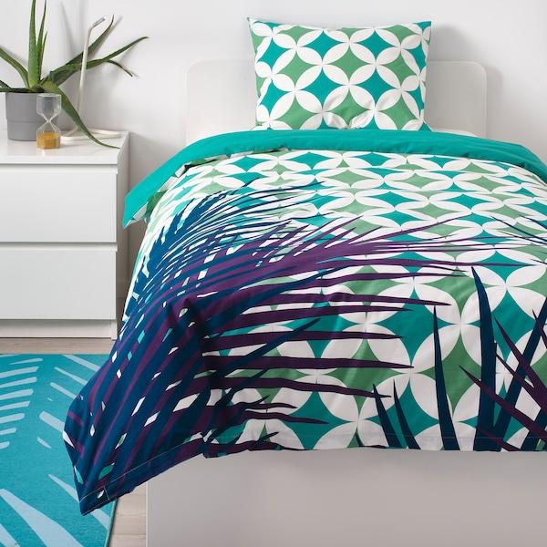 GRACIÖS Funda nórdica +funda almohada, efecto azulejo/turquesa, 150x200/50x60 cm