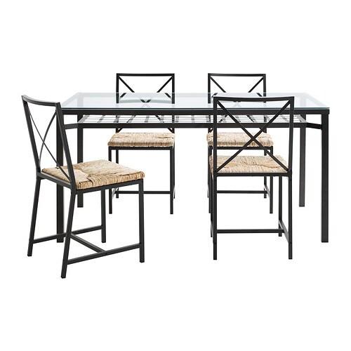 Mesa con 4 sillas, negro, vidrio