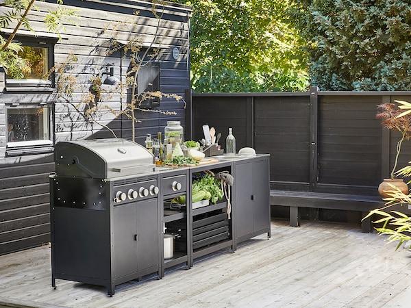 GRILLSKÄR Cocina de exterior, barbacoa de gas/quemador lateral/ac inox, 292x61 cm
