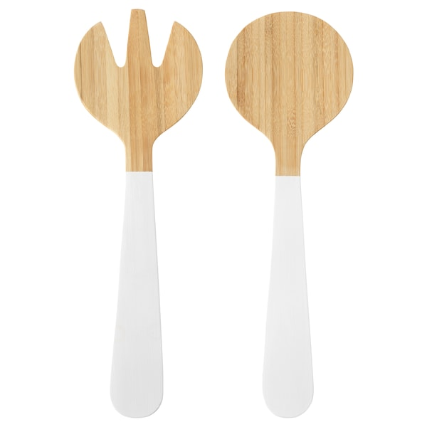 GRIPANDE Cubiertos ensalada 2 piezas, bambú/blanco, 31 cm