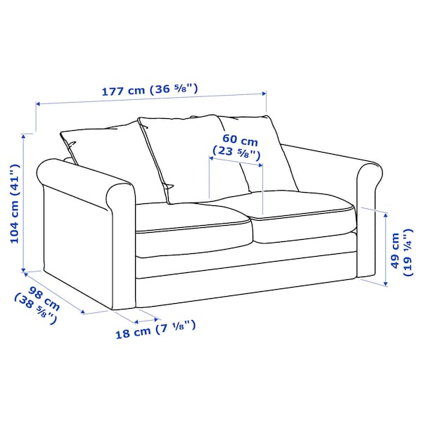 GRÖNLID sofá 2 plazas Sporda natural 104 cm 177 cm 98 cm 7 cm 18 cm 68 cm 141 cm 60 cm 49 cm