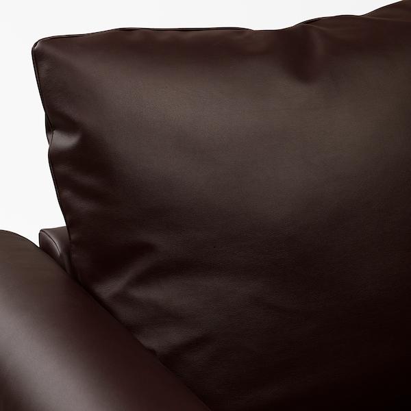 GRÖNLID Sofá 3 plazas, +chaiselongue/Kimstad marrón oscuro