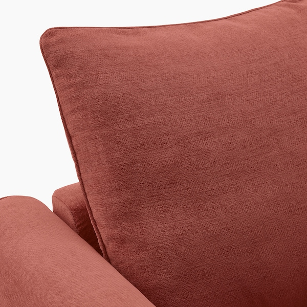 GRÖNLID Sofá 3 plazas esquina, +extremo abierto/Ljungen rojo claro