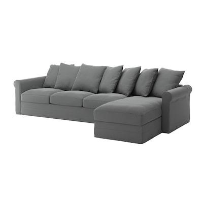 GRÖNLID Sofá 4 plazas, +chaiselongue/Ljungen gris
