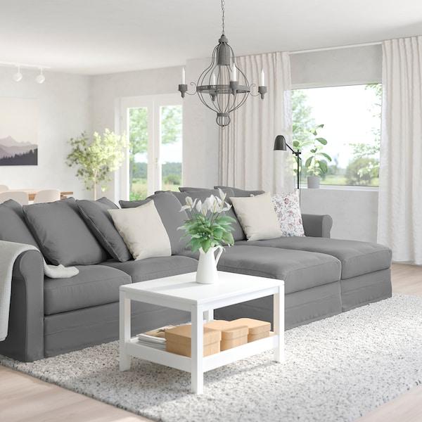 GRÖNLID Sofá 4 plazas, con chaiselongues/Ljungen gris