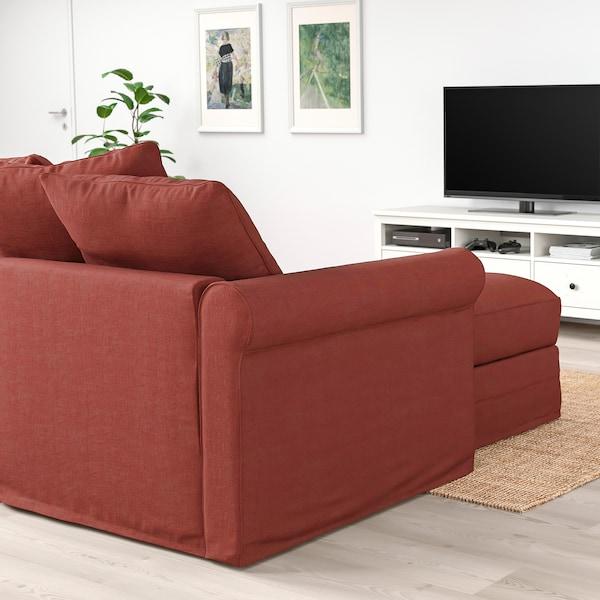 GRÖNLID Sofá 4 plazas, con chaiselongues/Ljungen rojo claro