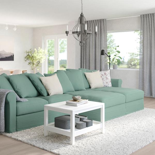 GRÖNLID Sofá 4 plazas, con chaiselongues/Ljungen verde claro