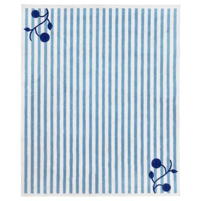 GULSPARV Alfombra, rayas azul/blanco, 133x160 cm