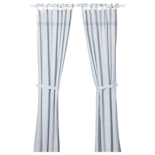 GULSPARV cortinas &alzapaños, 1par rayas azul/blanco 300 cm 120 cm