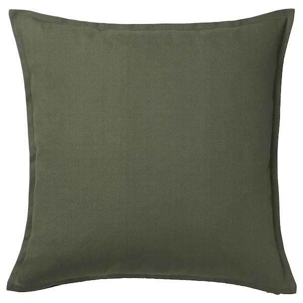 GURLI Funda de cojín, verde oscuro, 50x50 cm